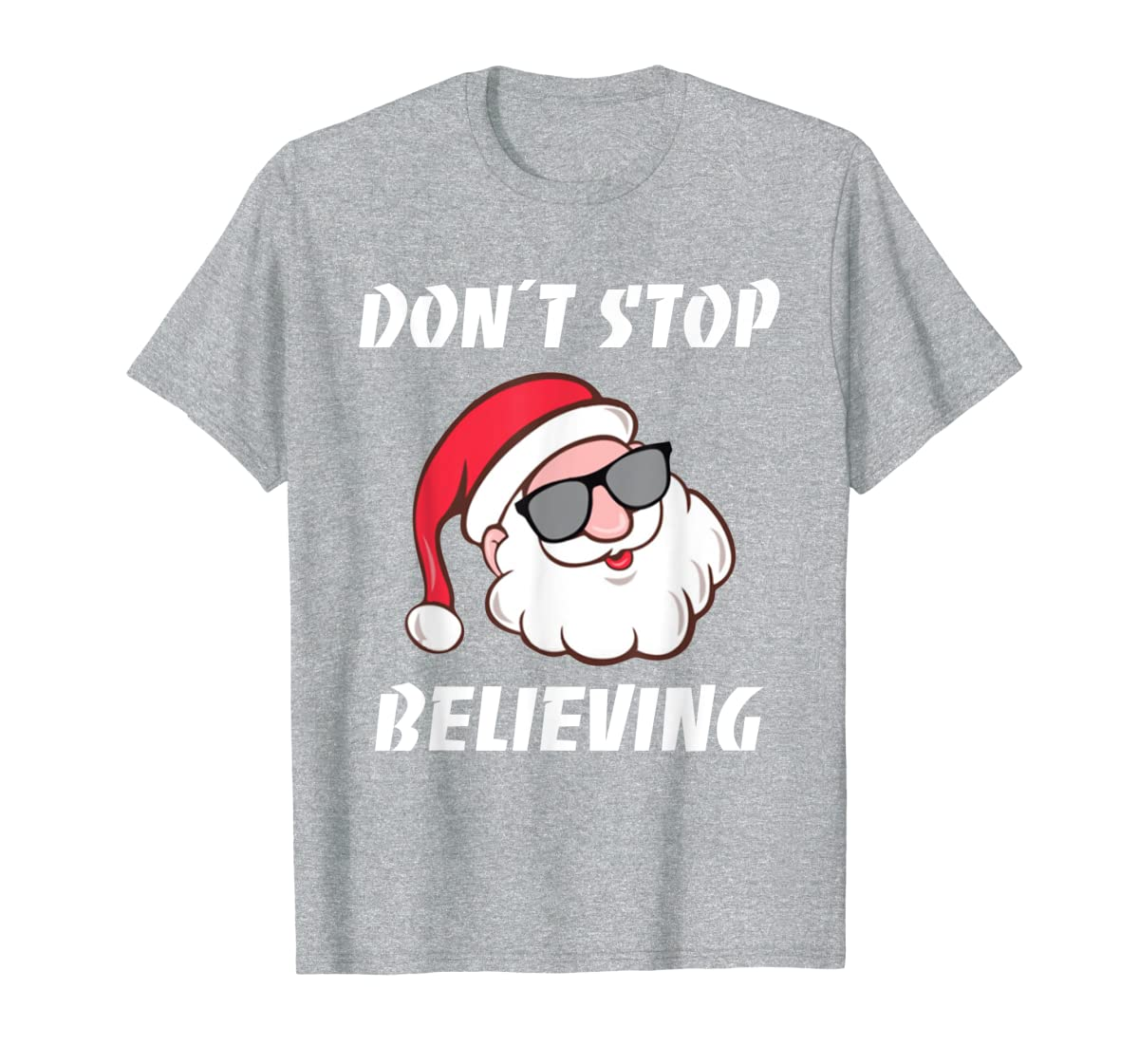 Don't Stop Believing Santa Claus Christmas T-Shirt-Men's T-Shirt-Sport Grey