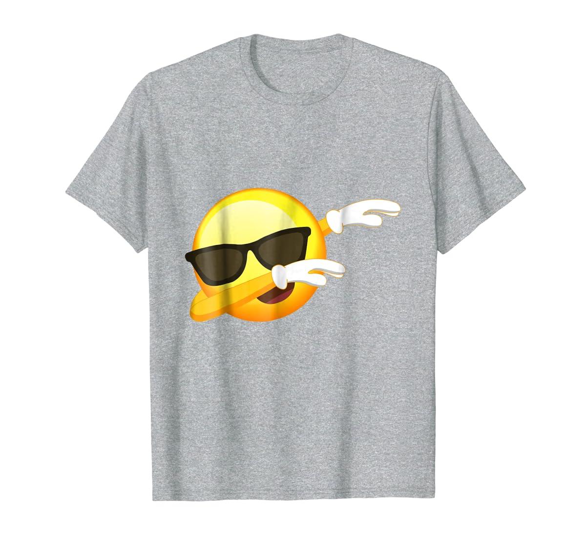 Funny Dabbing Emoji Shirt - Cool Emoji Dab T-Shirt-Men's T-Shirt-Sport Grey
