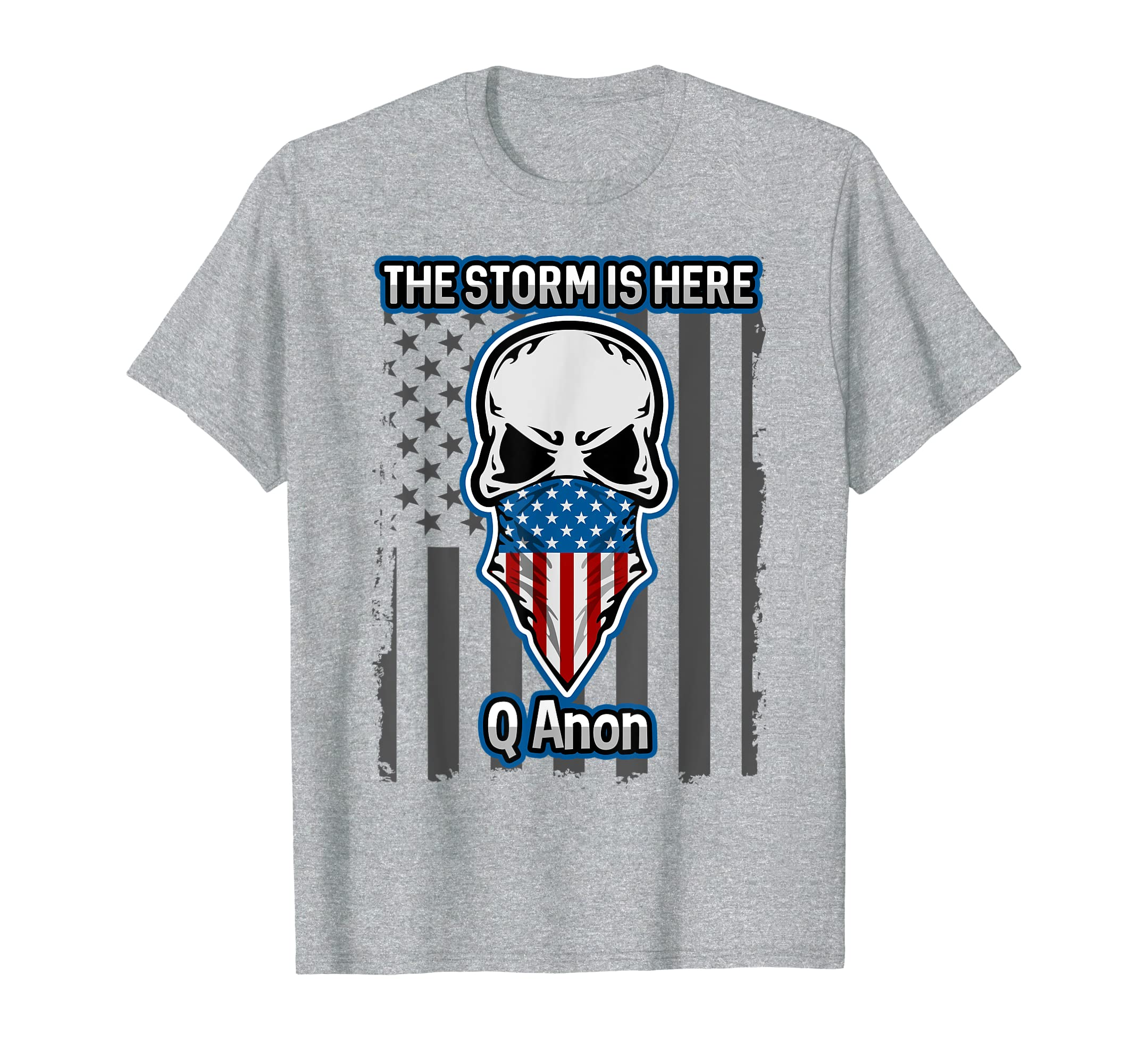a257e5cf8e2c5 Amazon.com  Q Anon T-shirt American Flag Skull The Storm Is Here WWG1WGA   Clothing