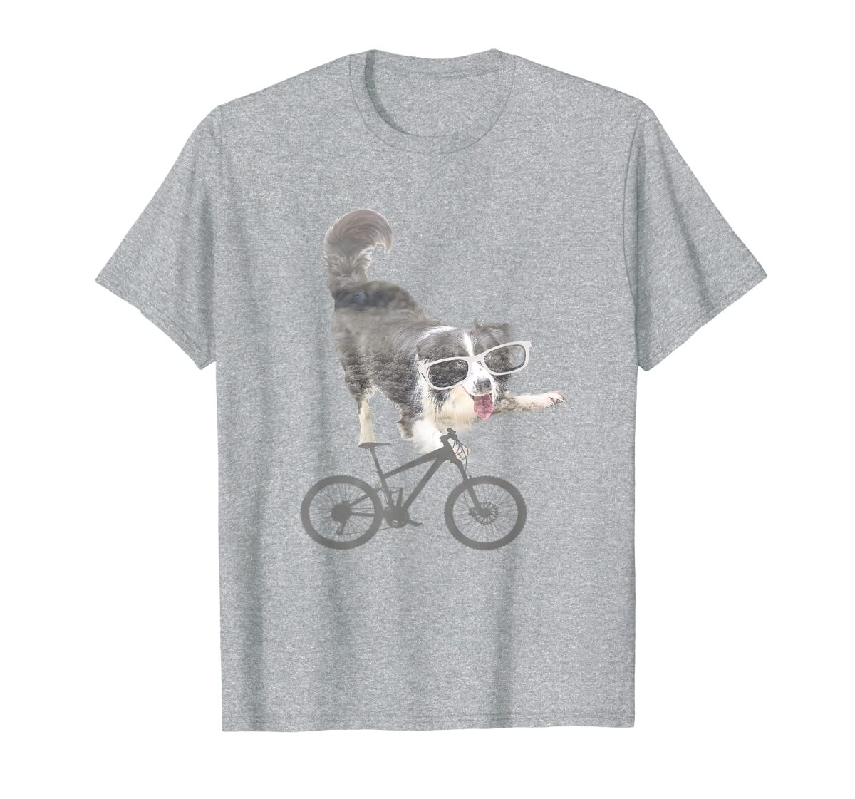 Border collie on a Bicycle T-shirt-Men's T-Shirt-Sport Grey