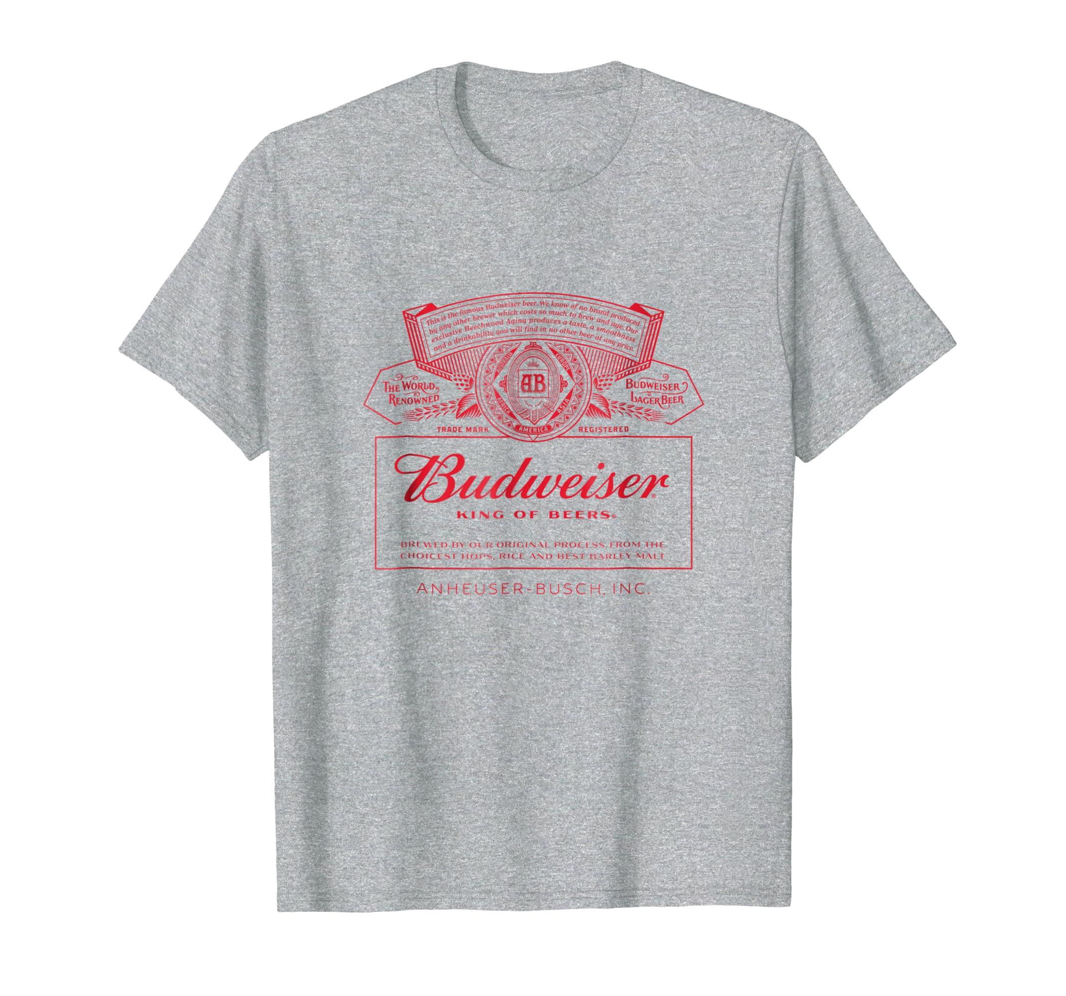 44651fc7 Amazon.com: Budweiser Can Label T-Shirt: Clothing