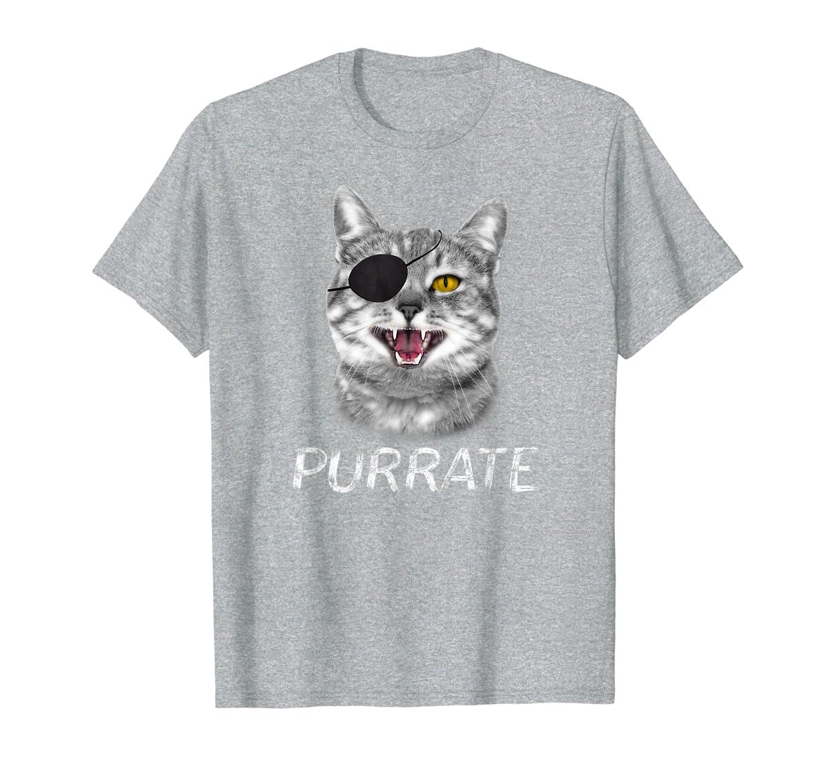 Halloween Trick Treat Cat Pirate Purrate T-Shirt-Men's T-Shirt-Sport Grey