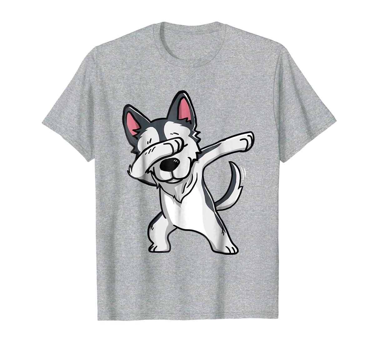 Dabbing Siberian Husky T-Shirt Husky Kids Costume-Men's T-Shirt-Sport Grey