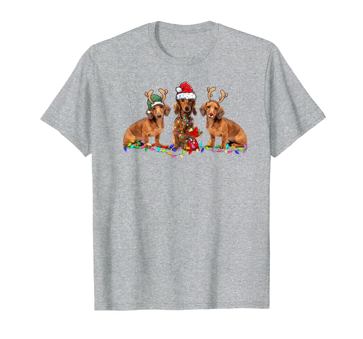 Three Dachshund Dogs Christmas Santa Hat Lights Xmas Gift Premium T-Shirt-Men's T-Shirt-Sport Grey
