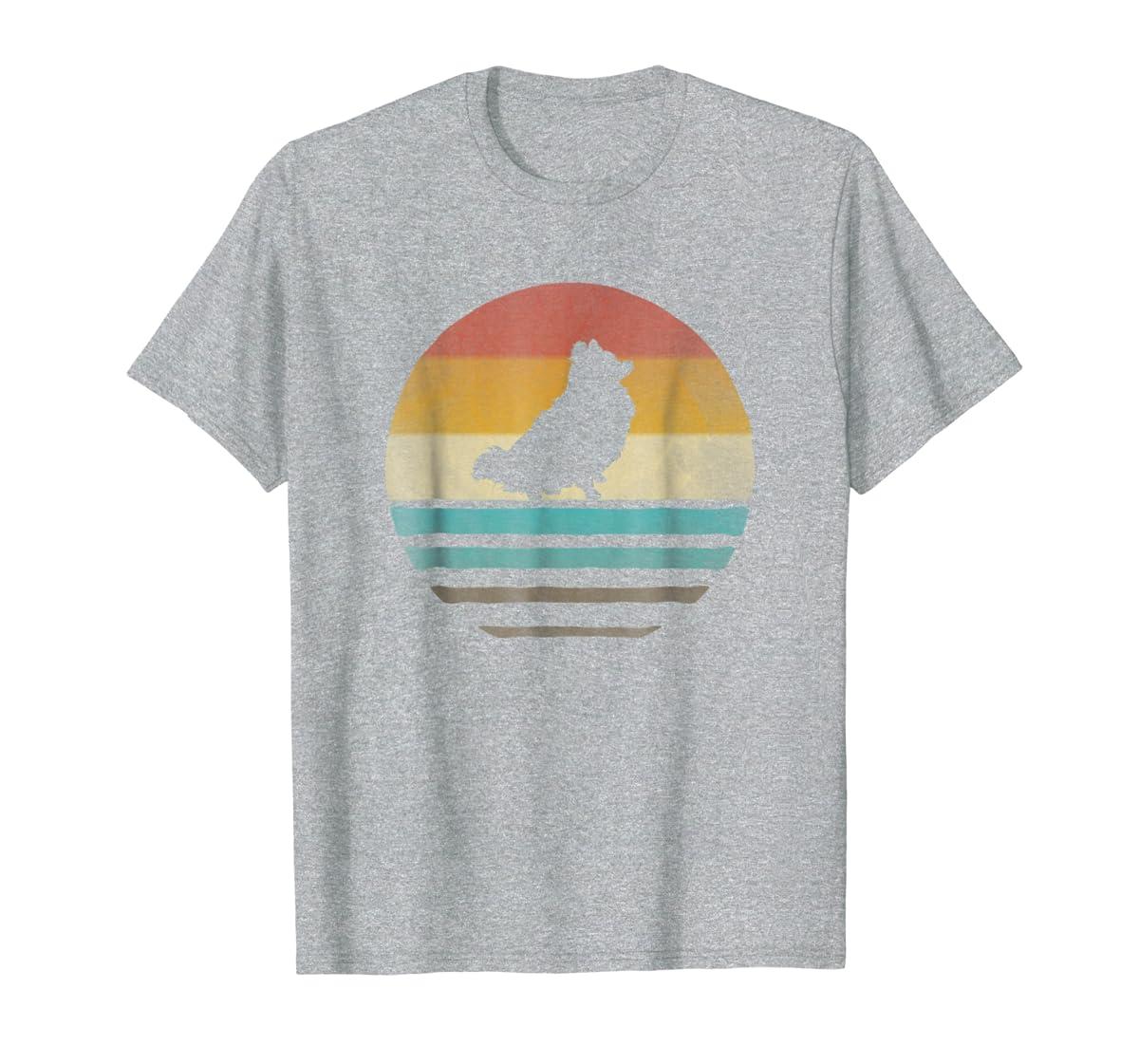 Pomeranian Dog Shirt Retro Vintage 70s Silhouette Distressed-Men's T-Shirt-Sport Grey