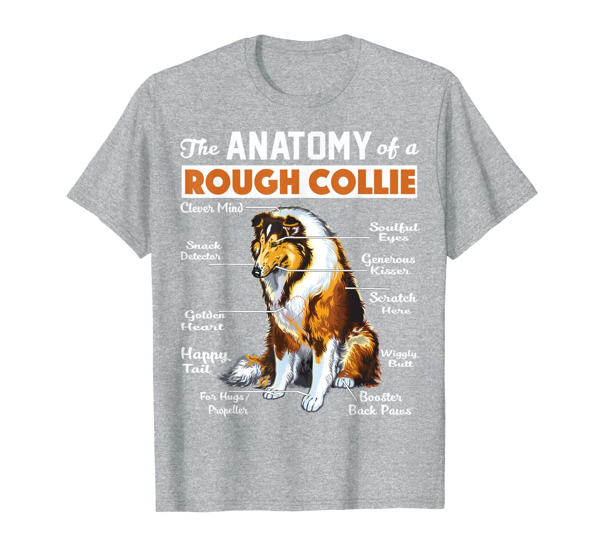 The Anatomy Of A Rough Collie-Men's T-Shirt-Sport Grey