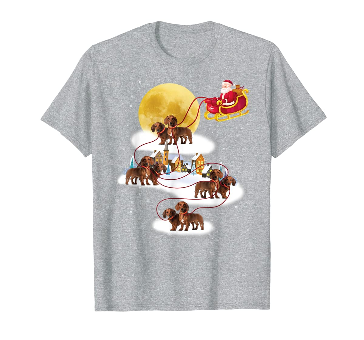 Dachshund Reindeer Christmas 2019 Dog Gift T-Shirt-Men's T-Shirt-Sport Grey