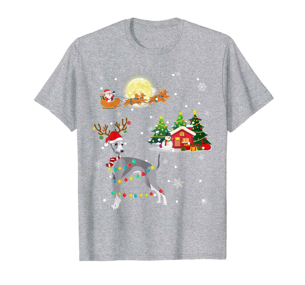Greyhound Dog Led Light Christmas 2019 Gift T-Shirt-Men's T-Shirt-Sport Grey