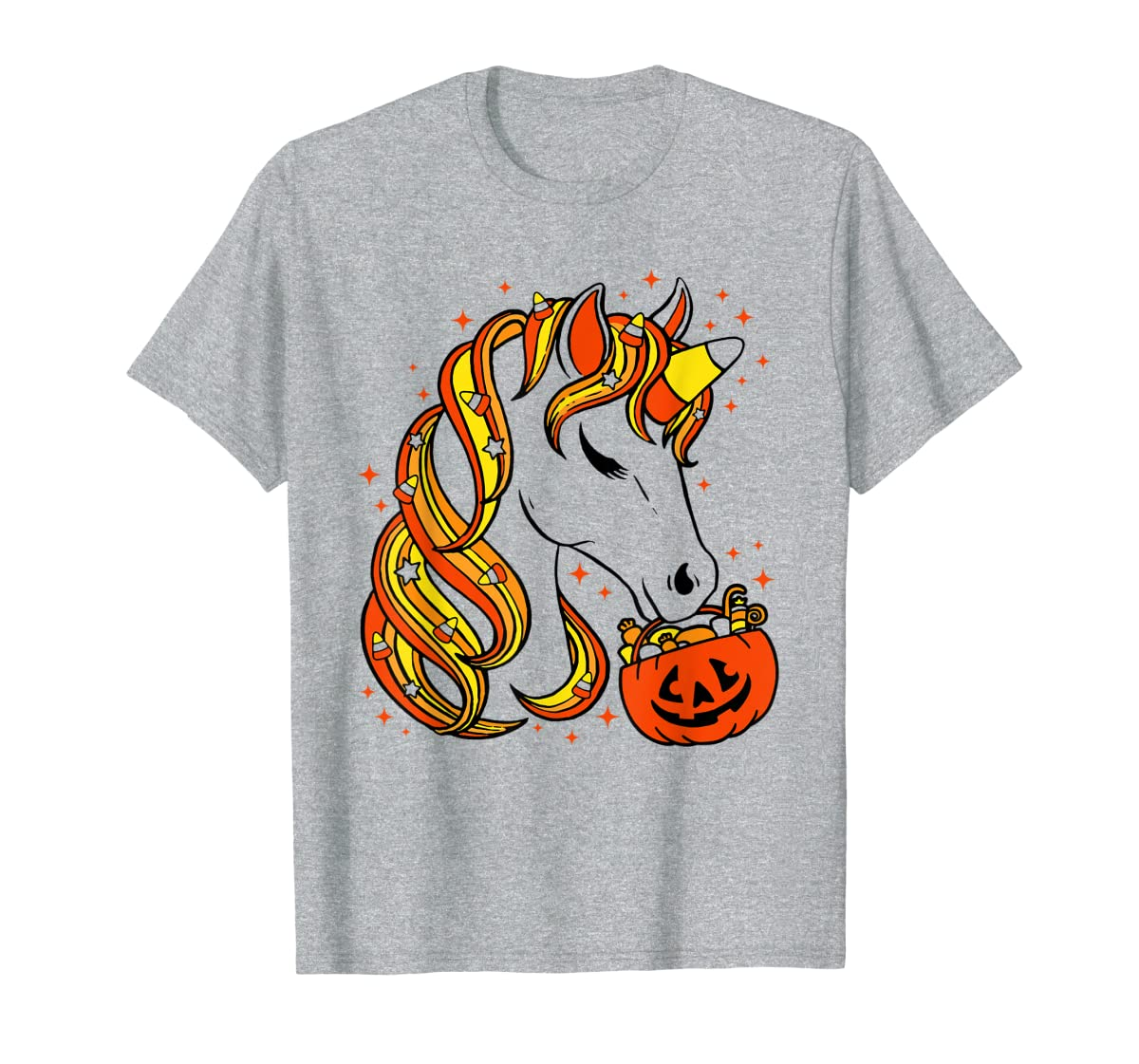 Cute Candy Corn Unicorn Halloween Top T-Shirt-Men's T-Shirt-Sport Grey