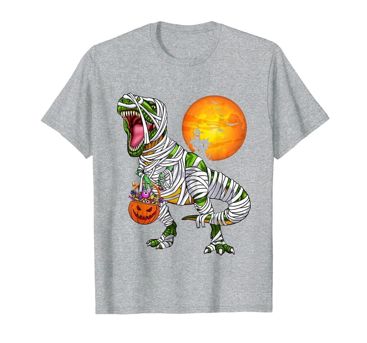 Halloween Gift For Boys Kids Dinosaur T rex Mummy Pumpkin T-Shirt-Men's T-Shirt-Sport Grey