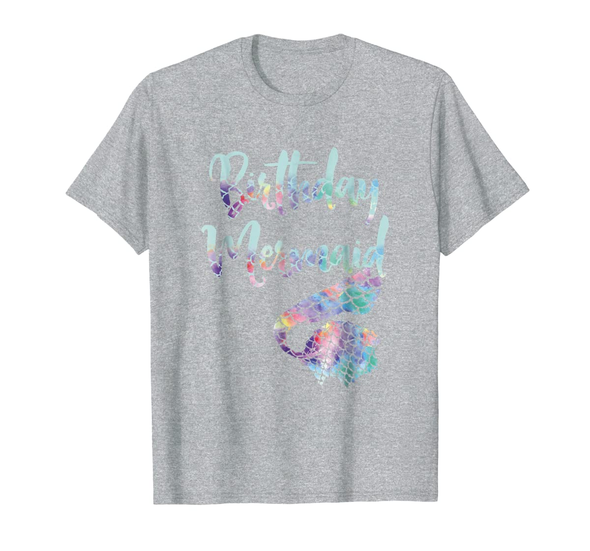 Birthday Mermaid Shirt-Men's T-Shirt-Sport Grey
