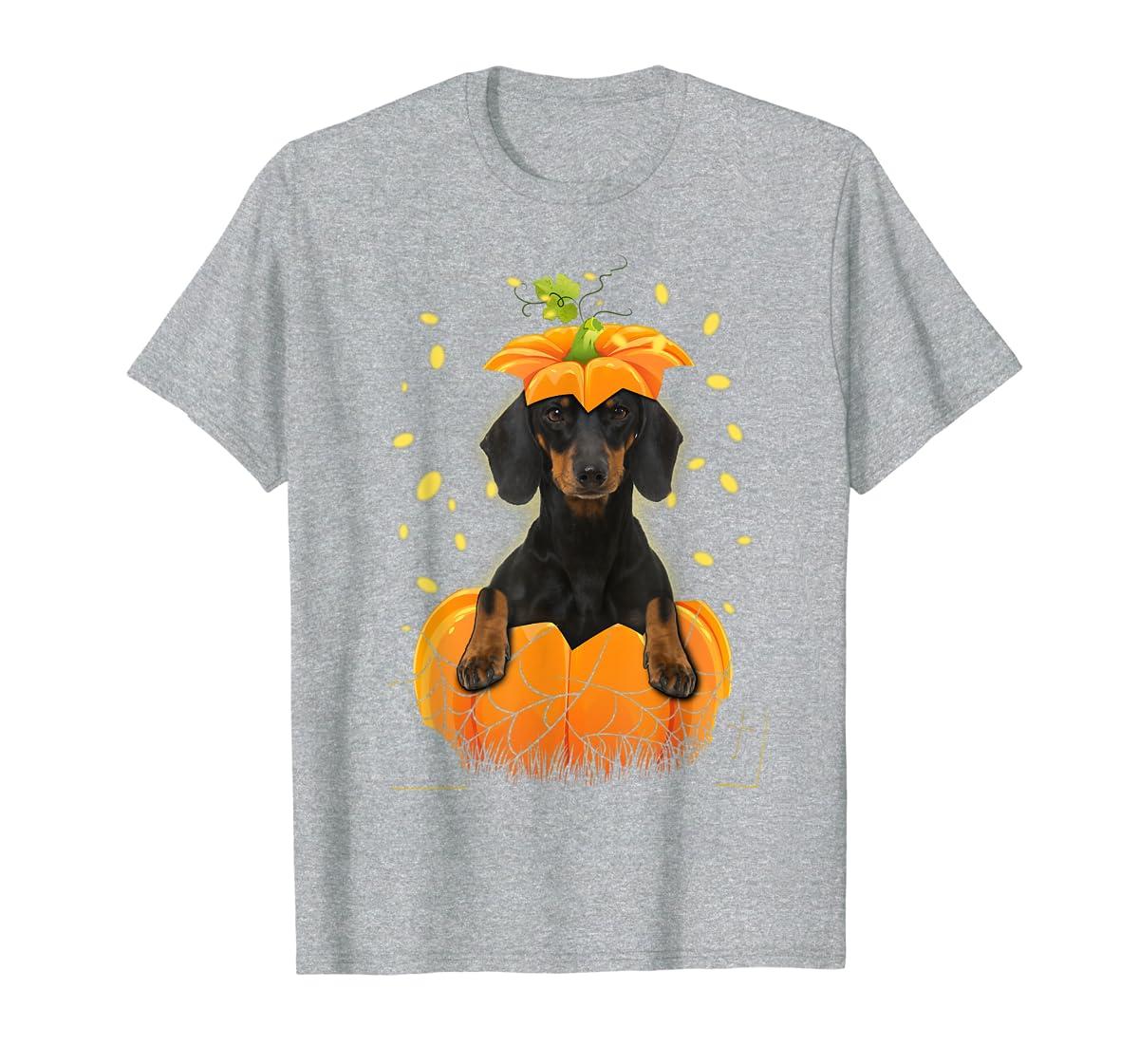 Happy Halloween Funny Dachshund Pumpkin T-Shirt-Men's T-Shirt-Sport Grey