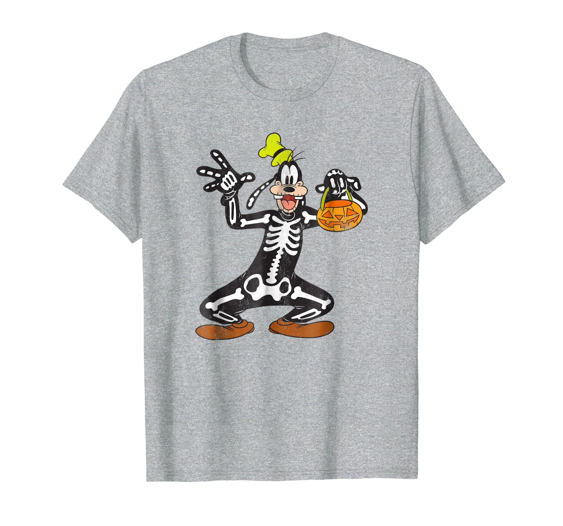 6b71285f55ba2 Amazon.com  Disney Goofy Skeleton Halloween T Shirt  Clothing