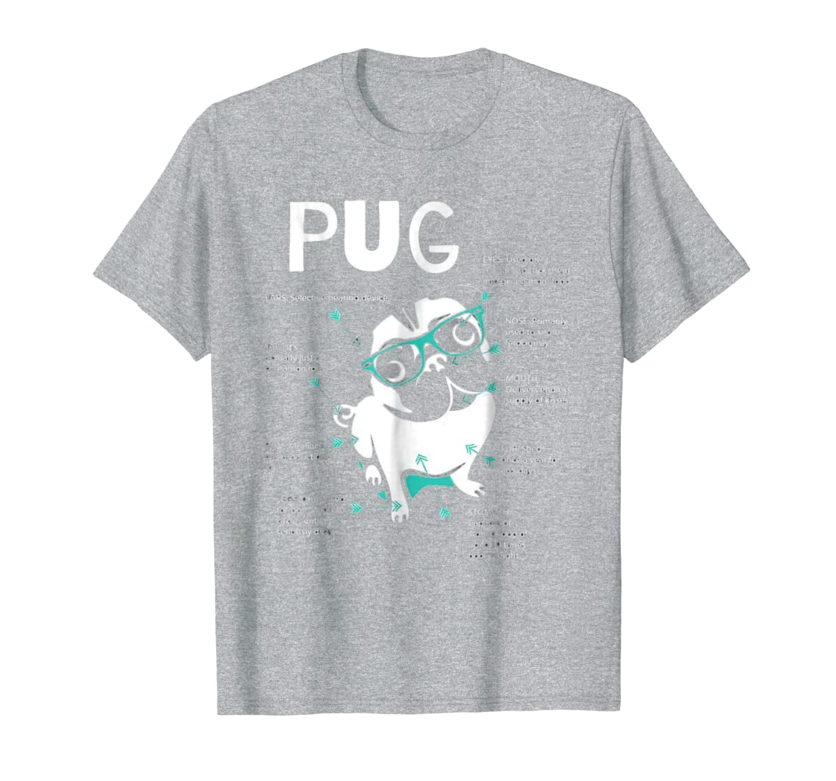 Anatomy Of A Pug Tshirt-Men's T-Shirt-Sport Grey