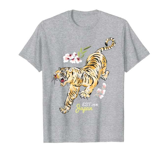 1dfedf285 Amazon.com: Vintage Japanese Tiger Tshirt - Asian Flowers Tattoo Art Tee:  Clothing