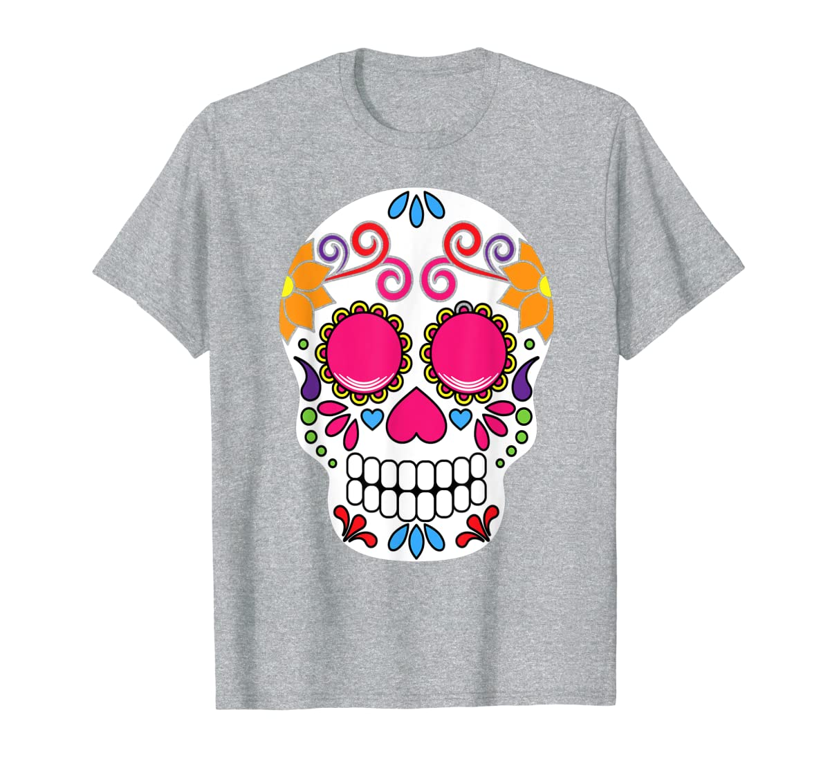 Colorful Day Of The Dead Sugar Skull Halloween T-shirt-Men's T-Shirt-Sport Grey