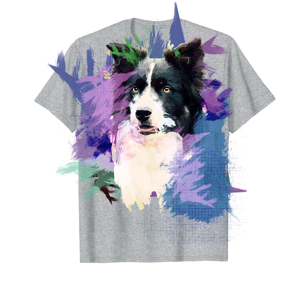 Border Collie T-Shirt Splash Art Dog Owner Gift Tee Shirt-Men's T-Shirt-Sport Grey