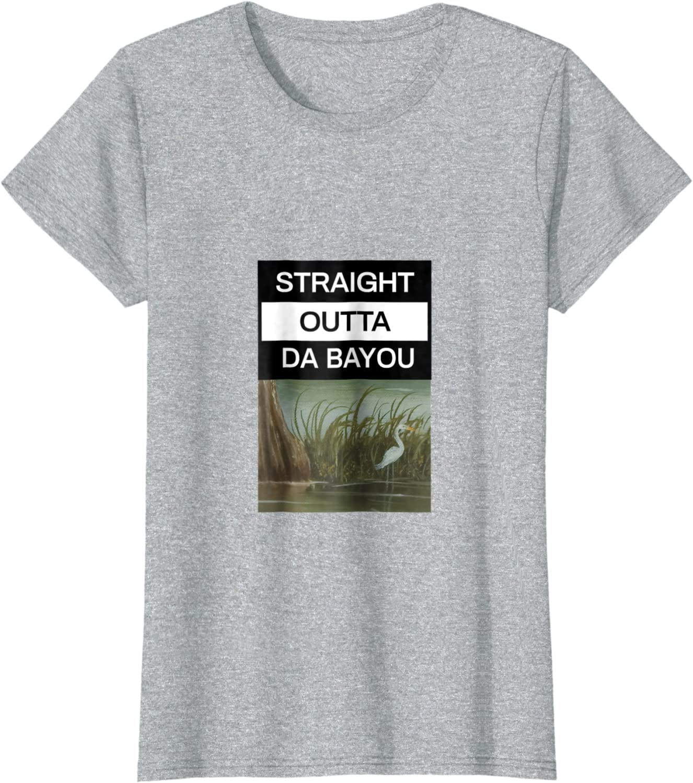 Straight Outta Da Bayou Black Adult T-Shirt