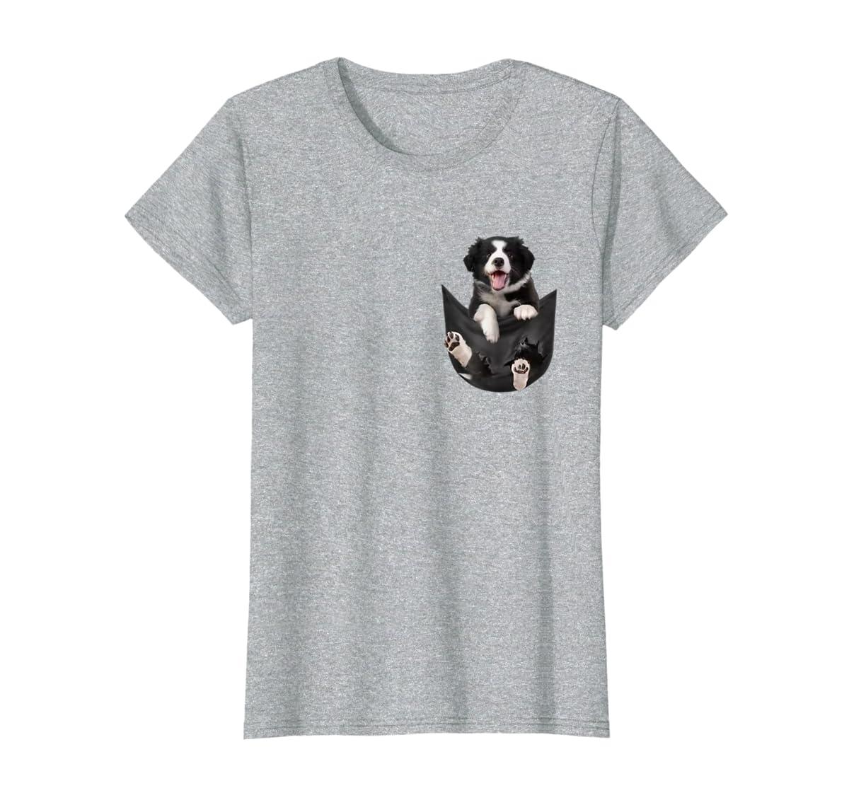 Border Collies Inside In Pocket Dog Lover T shirt Funny Cute-Women's T-Shirt-Sport Grey