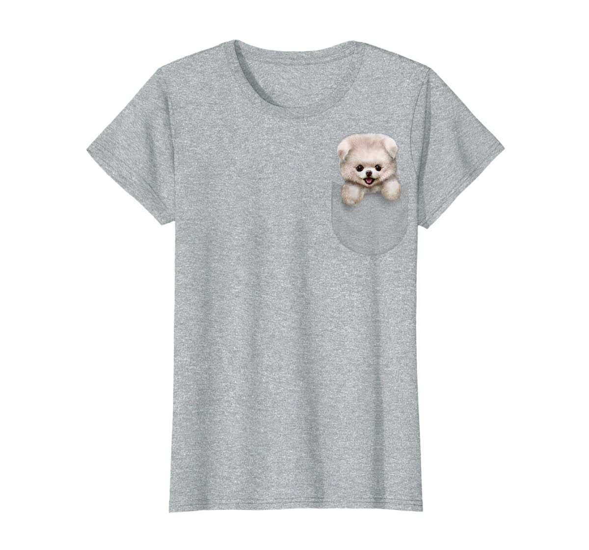 T-Shirt, Cute White Fluffy Pomeranian Puppy in Pocket, Dog-Women's T-Shirt-Sport Grey