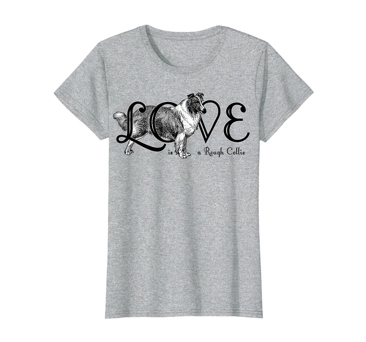 Love is a Rough Collie T-Shirt-Women's T-Shirt-Sport Grey