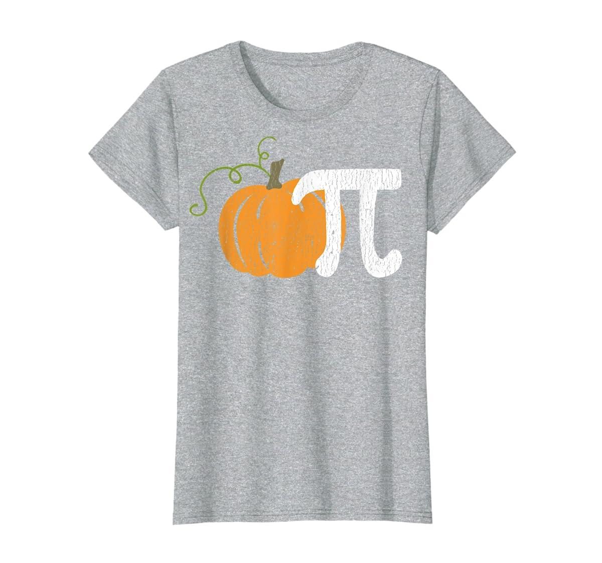 Funny Pumpkin Pie Math Teacher Halloween Pi Humor T-Shirt-Women's T-Shirt-Sport Grey