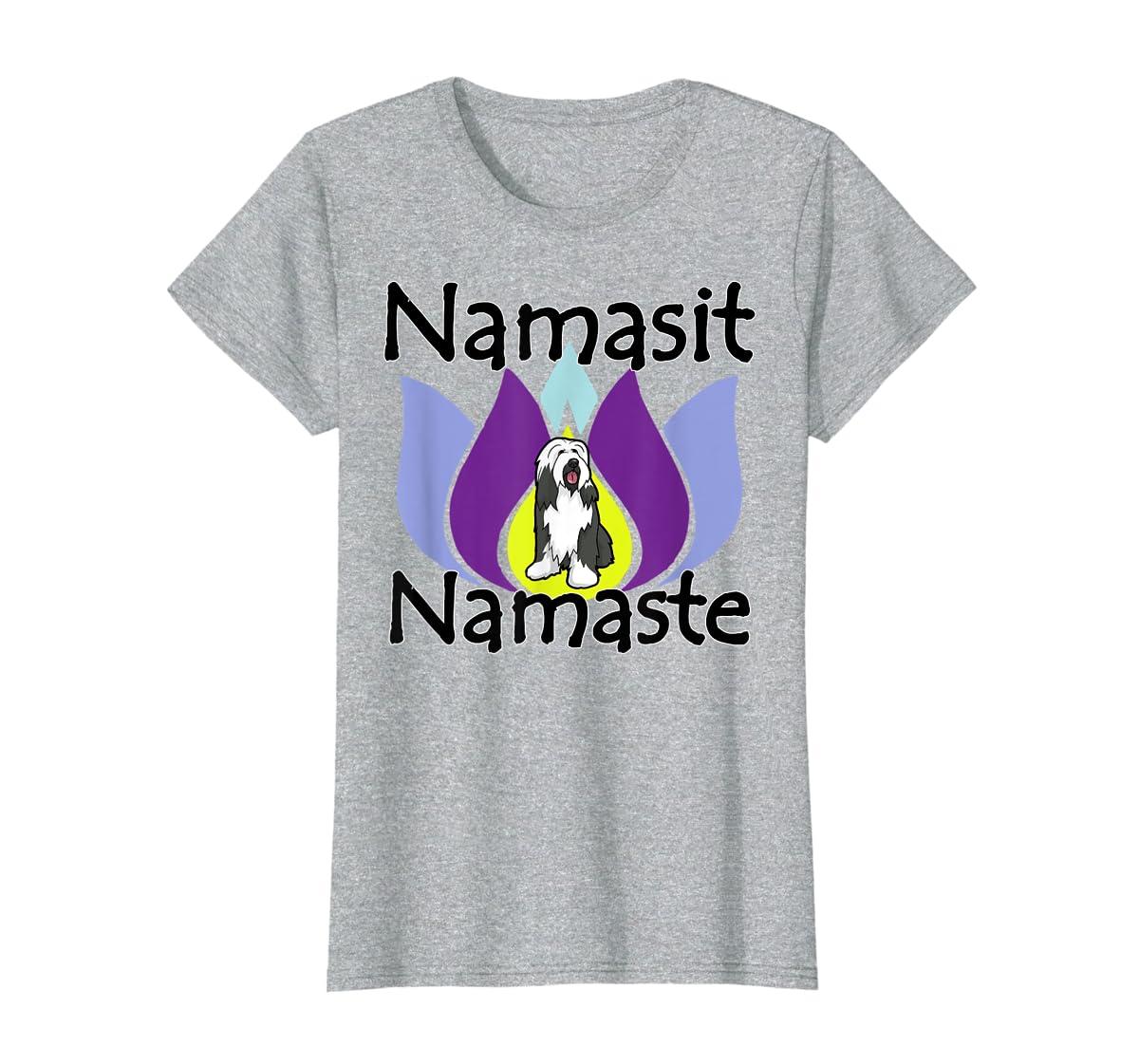 Namasit Namaste Bearded Collie Dog Yoga shirt-Women's T-Shirt-Sport Grey