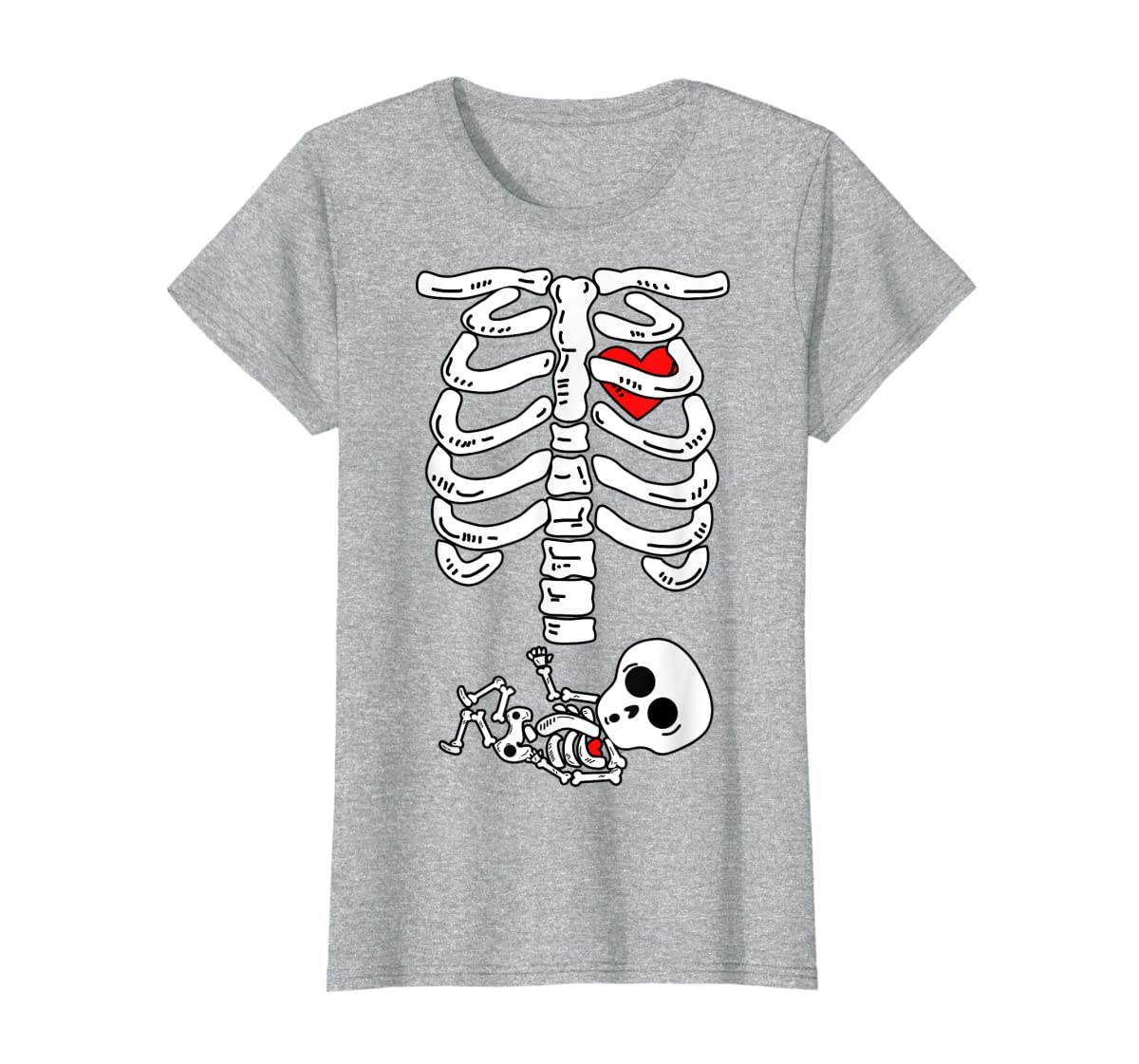 Skeleton Pregnancy Halloween Costumes For Couples T-Shirt-Women's T-Shirt-Sport Grey
