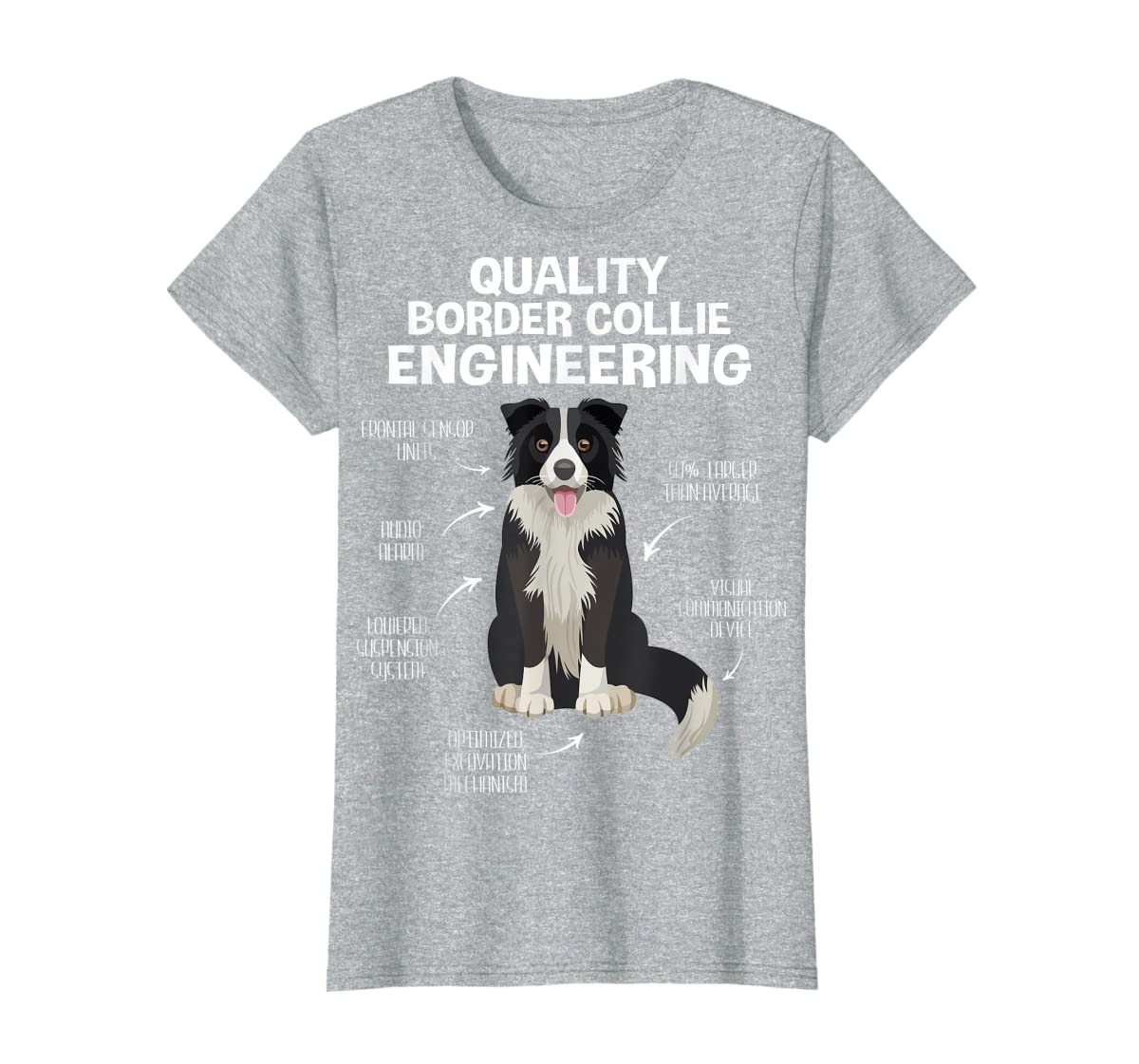 Quality Border Collie Engineering Dog Lover Gift T-Shirt-Women's T-Shirt-Sport Grey