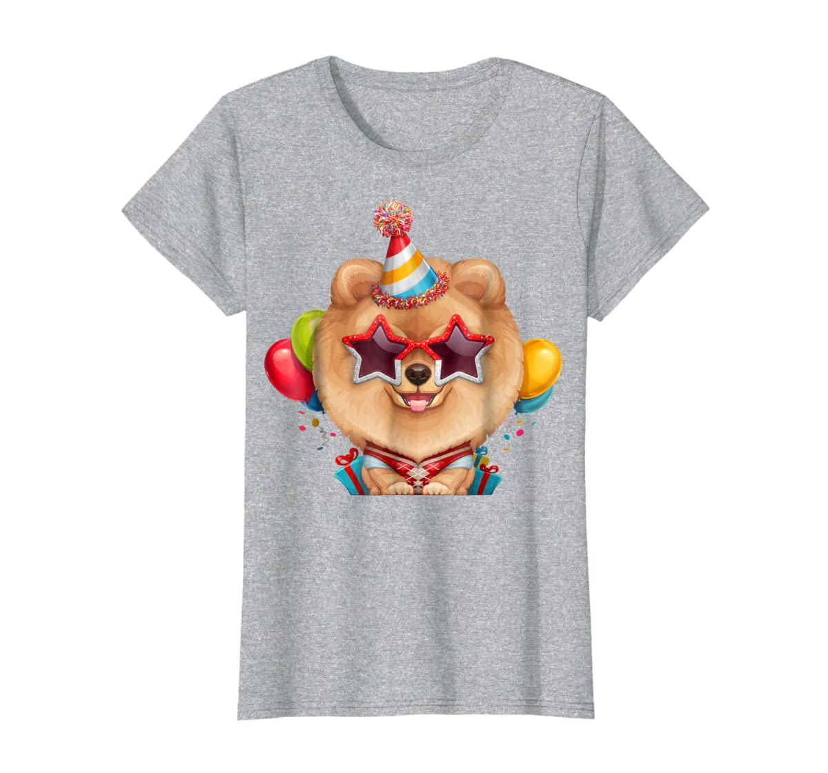 Orange Pomeranian in Glasses Birthday T-Shirt-Women's T-Shirt-Sport Grey