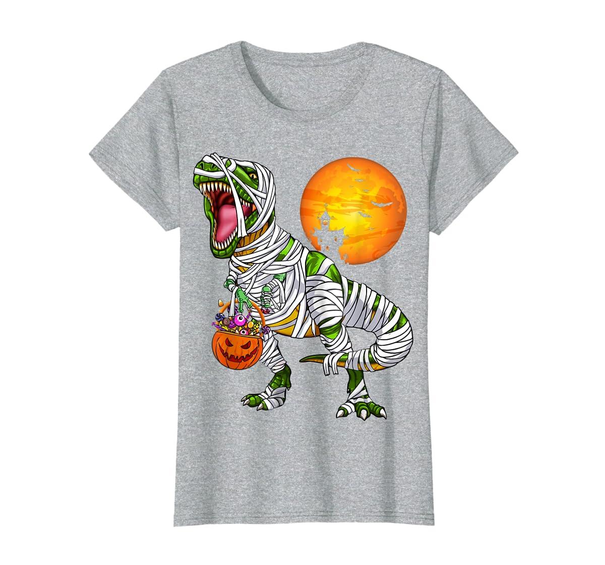 Halloween Gift For Boys Kids Dinosaur T rex Mummy Pumpkin T-Shirt-Women's T-Shirt-Sport Grey
