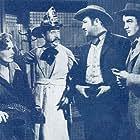 Hugh Herbert, Broderick Crawford, Frances Farmer, and Robert Stack in Badlands of Dakota (1941)