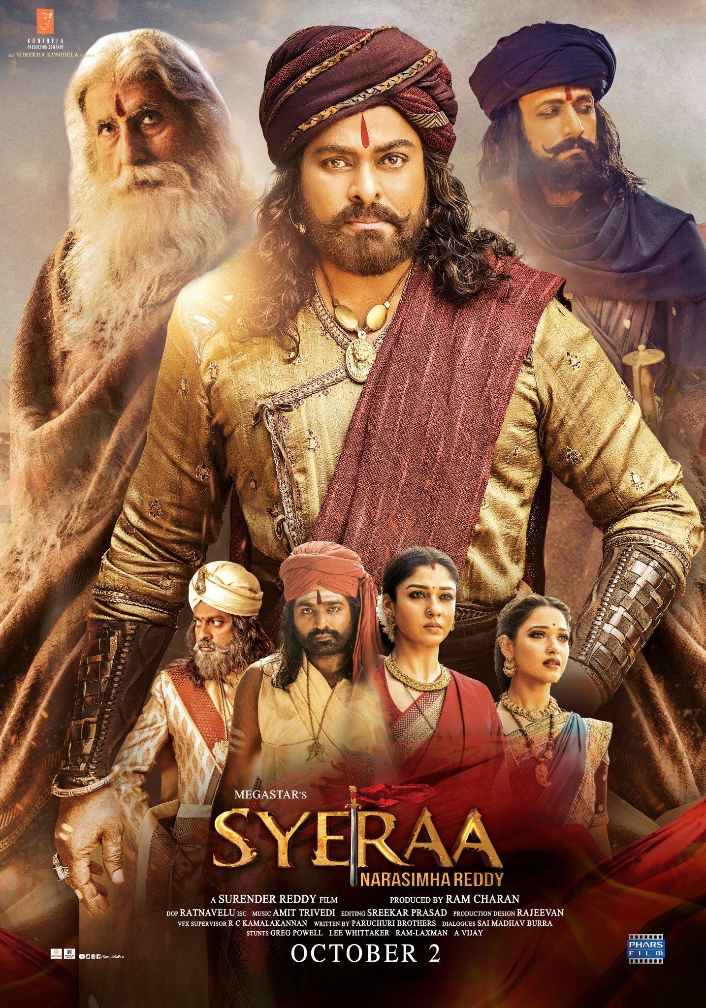 Sye Raa Narasimha Reddy (2019) Telugu  WEB-DL - 480P | 720P | 1080P - x264 - 400MB | 700MB | 2GB | 11GB - Download & Watch Online  Movie Poster - mlsbd