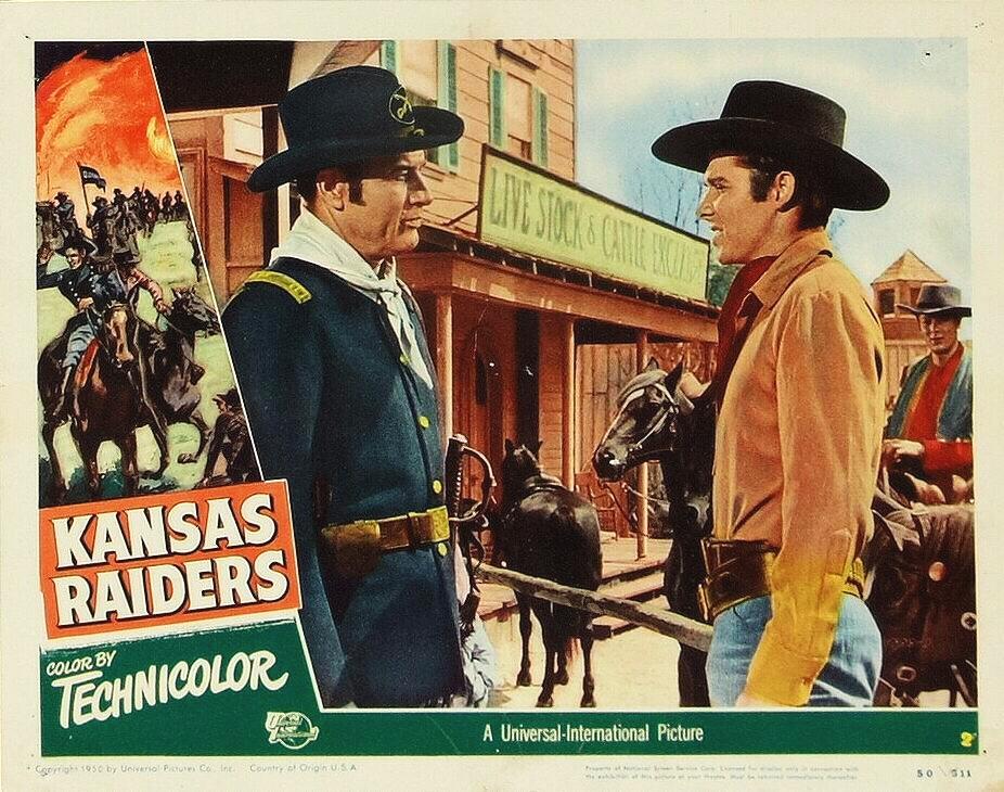 Tony Curtis, Audie Murphy, and Richard Arlen in Kansas Raiders (1950)