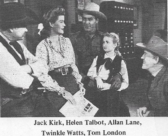 Tom London, Jack Kirk, Allan Lane, Helen Talbot, and Twinkle Watts in Trail of Kit Carson (1945)