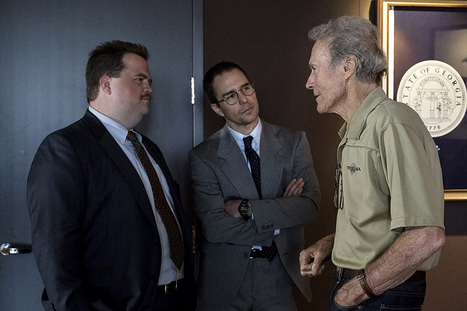 Clint Eastwood, Sam Rockwell, and Paul Walter Hauser in Richard Jewell (2019)