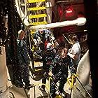 Cinematographer Dante Yore & Michael Madsen on the set of Megalodon.