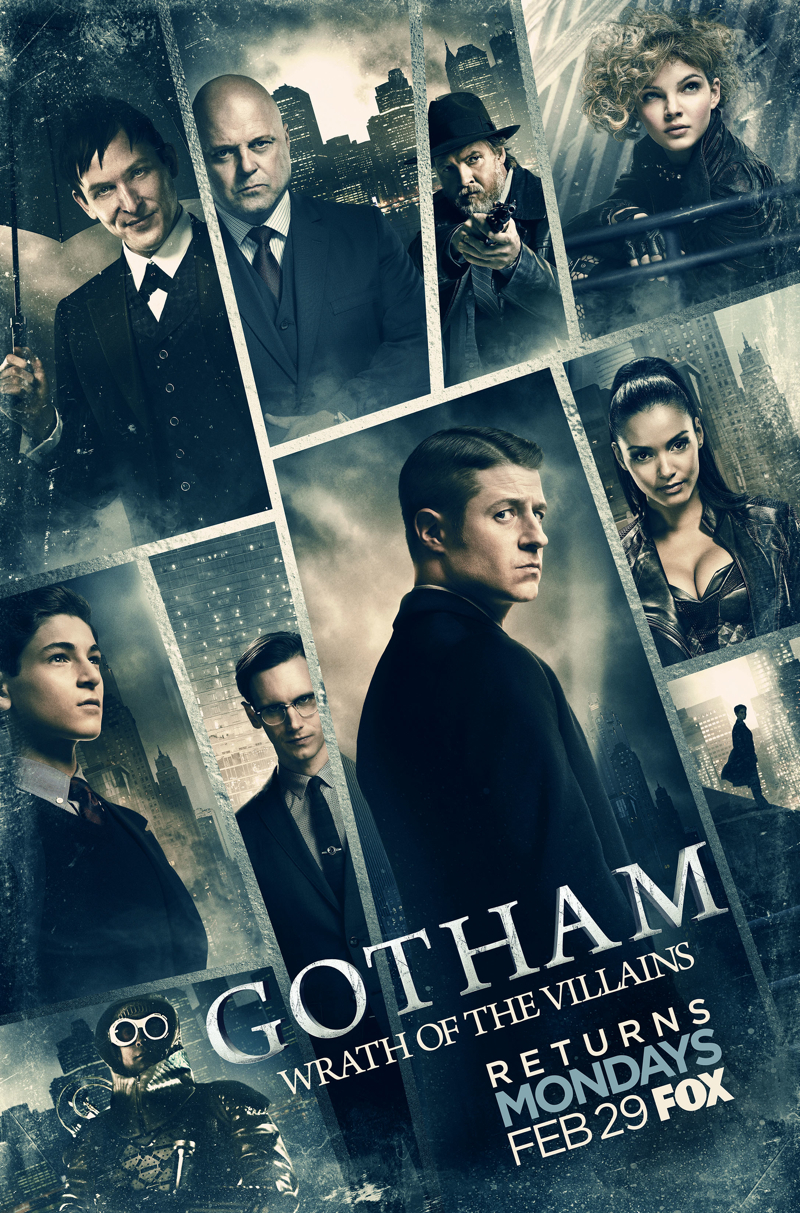 Michael Chiklis, Donal Logue, Jessica Lucas, Ben McKenzie, Nathan Darrow, Robin Lord Taylor, David Mazouz, Camren Bicondova, and Cory Michael Smith in Gotham (2014)