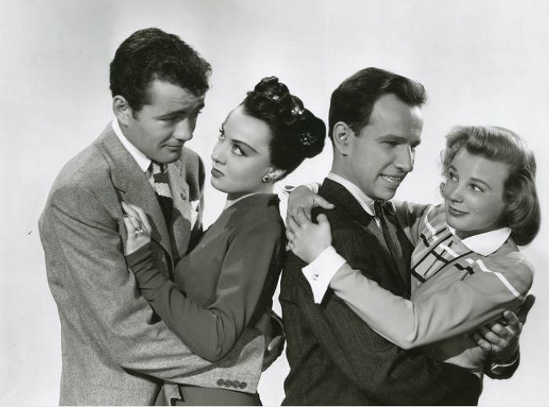 June Allyson, Hume Cronyn, Audrey Totter, and Robert Walker in The Sailor Takes a Wife (1945)