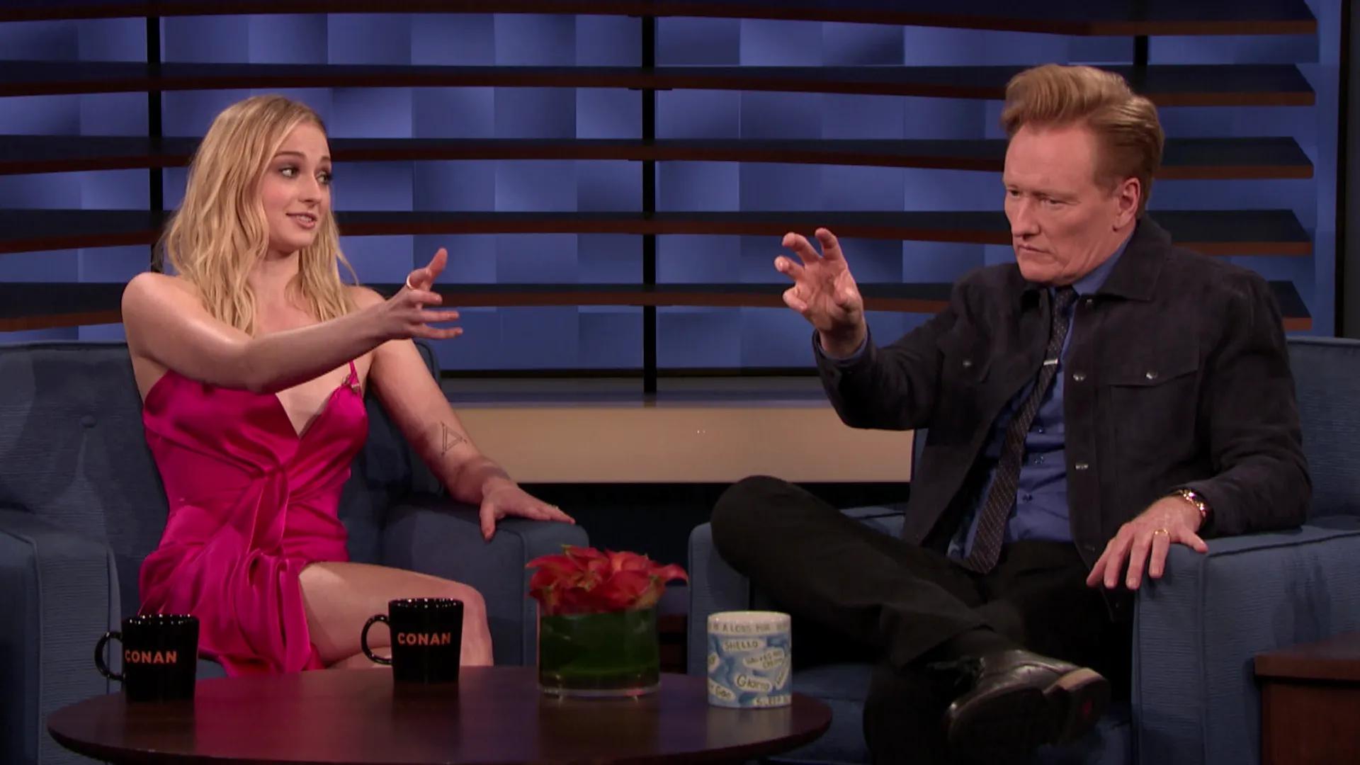 Conan O'Brien and Sophie Turner in Sophie Turner (2019)