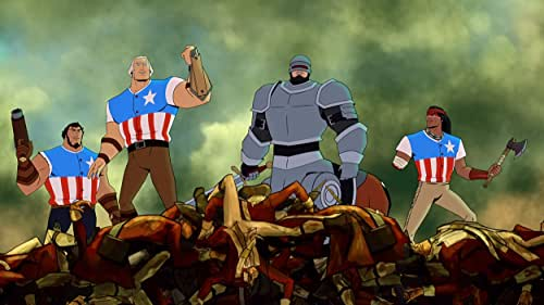 In this animated revisionist history, a chainsaw-wielding George Washington assembles a team of rabble rousers, including beer-loving bro Sam Adams, famed scientist Thomas Edison, acclaimed horseman Paul Revere, and a very pissed off Geronimo, to defeat Benedict Arnold and King James in the American Revolution. Who will win? No one knows, but you can be sure of one thing: these are not your father's Founding ... uh, Fathers.