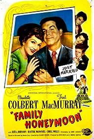 Claudette Colbert, Jimmy Hunt, Fred MacMurray, Peter Miles, and Gigi Perreau in Family Honeymoon (1948)