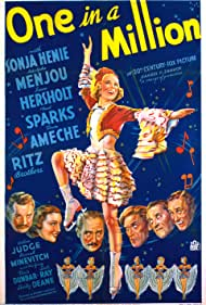 Don Ameche, Sonja Henie, Jean Hersholt, Arline Judge, Adolphe Menjou, Al Ritz, Harry Ritz, Jimmy Ritz, Ned Sparks, and The Ritz Brothers in One in a Million (1936)