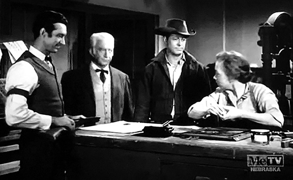 Ellen Corby, Robert Culp, James Griffith, and John Litel in Trackdown (1957)
