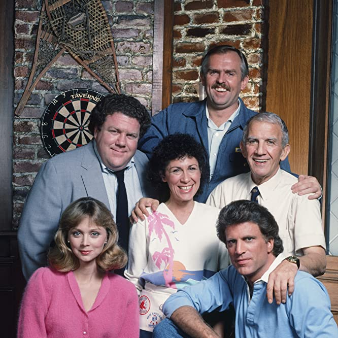 Ted Danson, Shelley Long, John Ratzenberger, George Wendt, Nicholas Colasanto, and Rhea Perlman at an event for Cheers (1982)