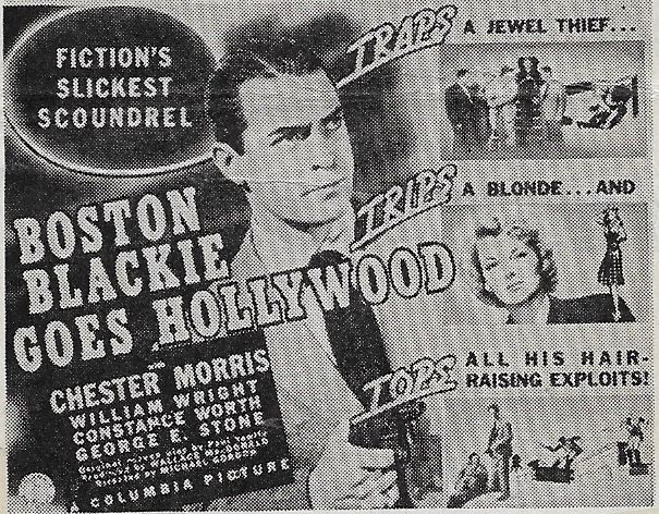 Chester Morris and Constance Worth in Boston Blackie Goes Hollywood (1942)