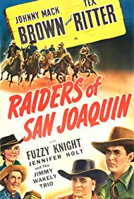 Johnny Mack Brown, Jennifer Holt, Fuzzy Knight, and Tex Ritter in Raiders of San Joaquin (1943)