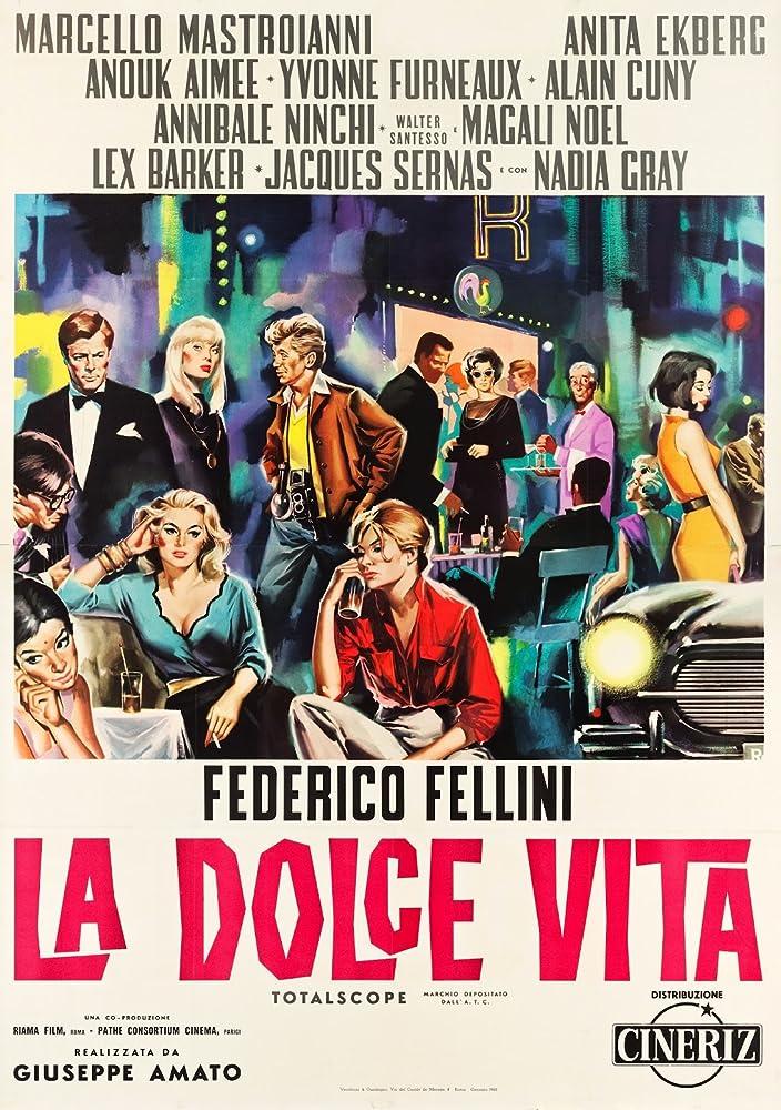 Marcello Mastroianni, Anouk Aimée, Anita Ekberg, and Nico in La dolce vita (1960)
