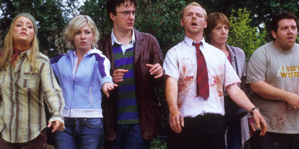 Kate Ashfield, Lucy Davis, Nick Frost, Dylan Moran, Simon Pegg, and Penelope Wilton in Shaun of the Dead (2004)
