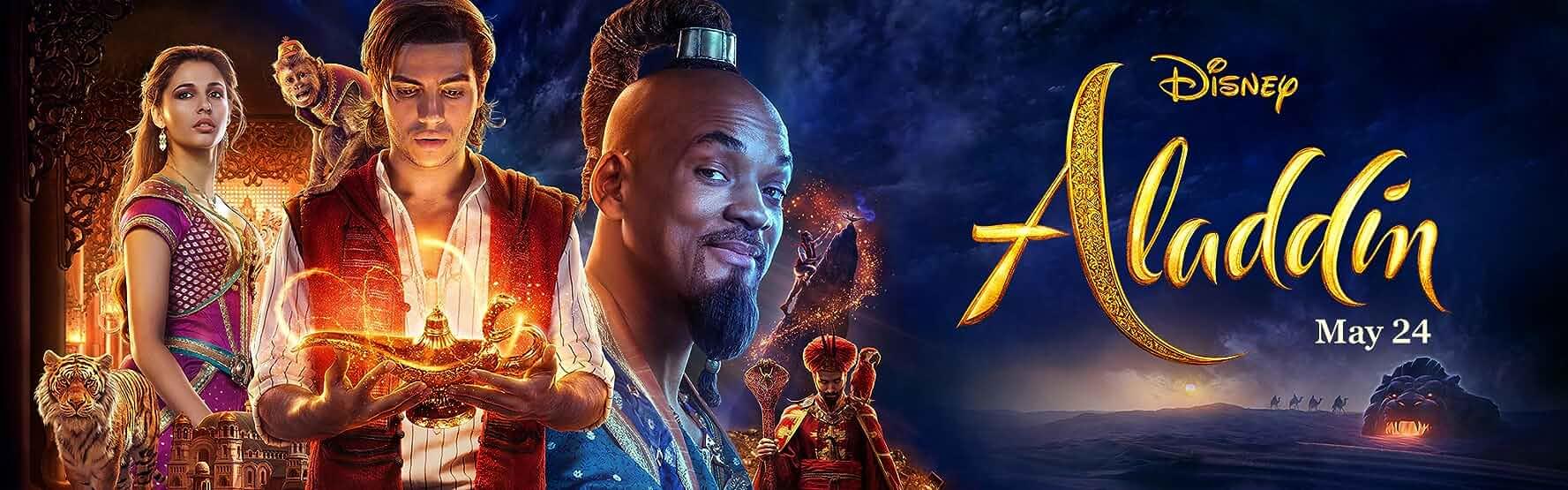 Will Smith, Alan Tudyk, Marwan Kenzari, Naomi Scott, and Mena Massoud in Aladdin (2019)